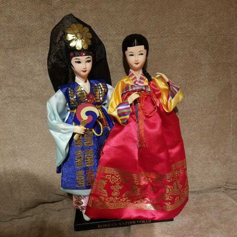 Korean Native Dolls in Display Case Male and Female Korean