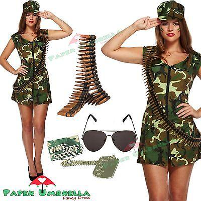 World War Two Costumes (Ladies ARMY Fancy Dress + Bullet Belt Costume Soldier WW2 World War Two)