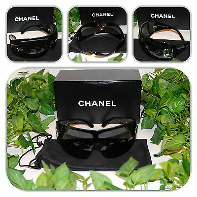 STUNNING CHANEL BLACK VISOR WRAP 5086 SUNGLASSES!