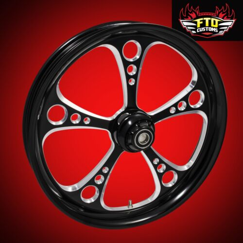 "2000-2007 Harley Black Contrast 30 Inch Front Wheel & Floating Rotors ""3-shot"""