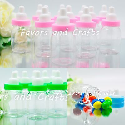 50 Baby Shower Bottles Games Fillable Favors Blue Pink Green Girl Boy Decoration