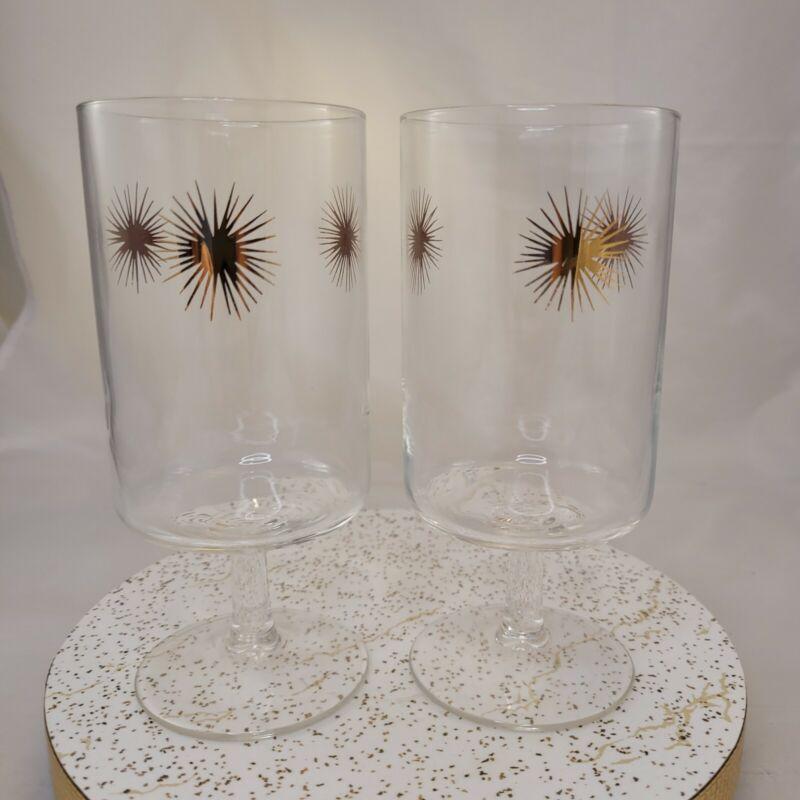 Vintage Mid Century Starburst Atomic Set of 2 Water Goblet Drinking Glasses