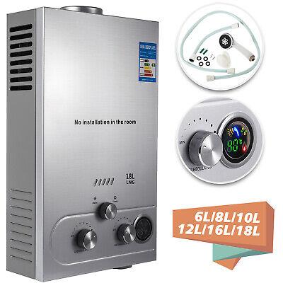 6L/8L/10L/12L/16L/18L Natural Gas Hot Water Heater Tankless W/Shower -