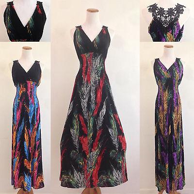 Hawaiian Party Dress (Maxi Long Dress V Neck Lacey Floral Back Evening Party Club Boho Hawaiian)