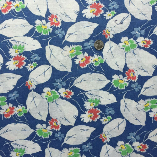 """Vintage Partial Feed Sack Lovely Floral on Navy Blue 23"""" x 18"""""""