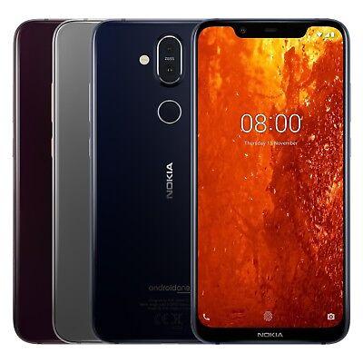 "Nokia 8.1 TA-1119 64GB Black (FACTORY UNLOCKED) 6.18"" 4GB RAM Blue, iron, Steel"