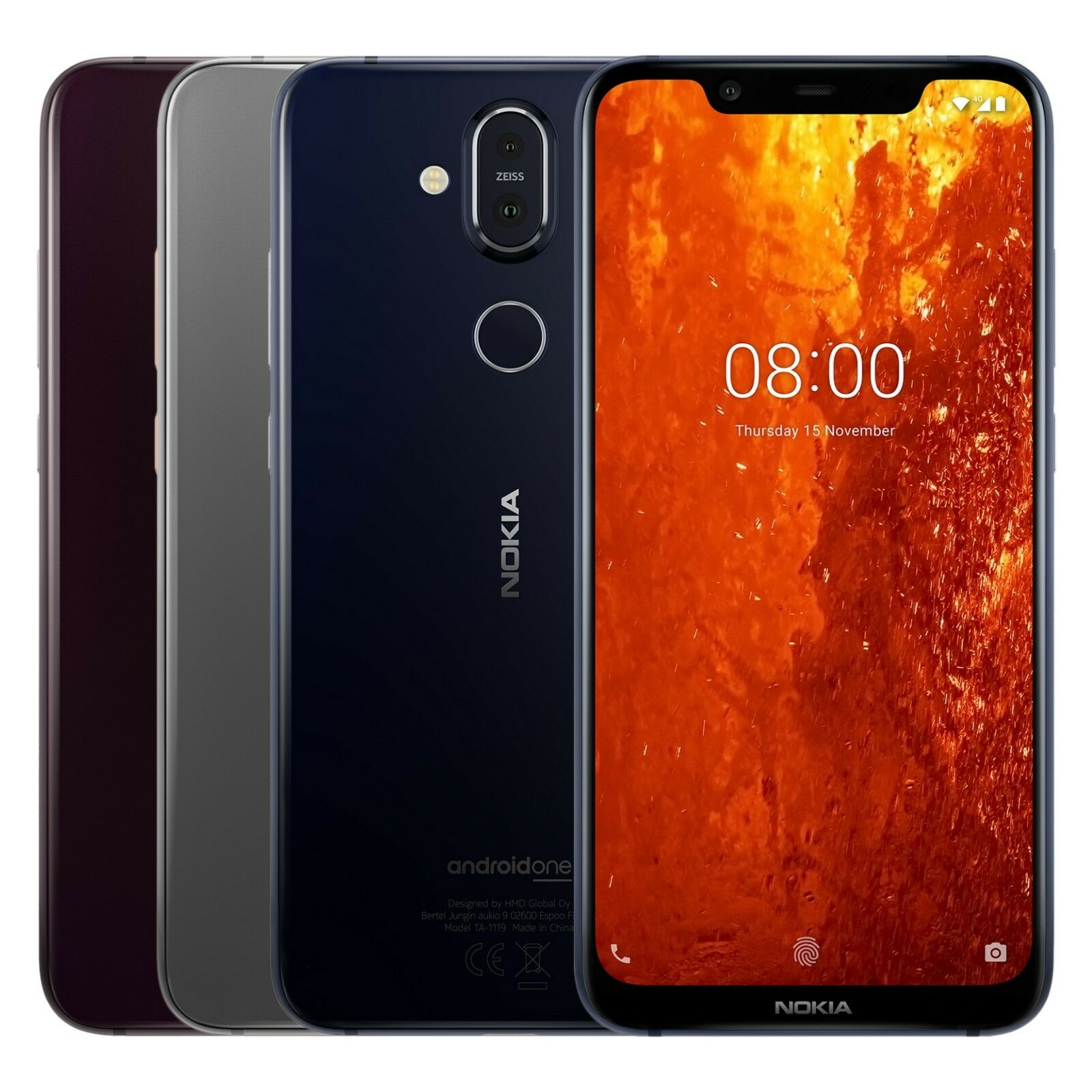 "Nokia 8.1 TA-1119 64GB Black (FACTORY UNLOCKED) 6.18"" 4GB RAM Blue, iron, Steel"