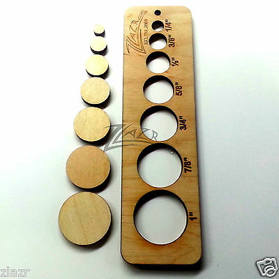 """200 1/4,3/8,1/2,5/8,3/4,7/8+1""""x1/8"""" Variety Size Wooden Circle Disc Wood Craft"""