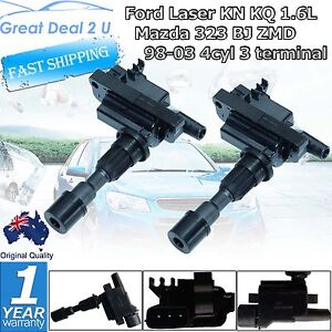 2 Ignition Coils Ford Laser KN KQ 1.6L Mazda 323 BJ ZMD 98-03 4cyl 3 terminal