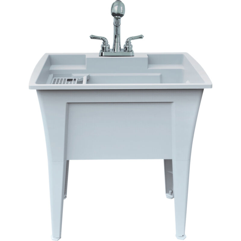 Rugged Tub Garage and Laundry Sink with Pull-Out Faucet - 32in.W, Granite/Gray,