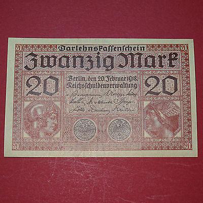 Darlehenskassenschein über 20 Mark/Reichsmark von 1918 -- kassenfrisch, fortlauf