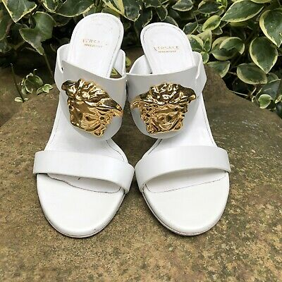 VERSACE White Leather Mule High Heels Sandals W/ Gold Medusa Head - UK 5, 38 EU