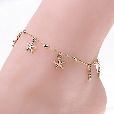 Women's Gold Plated Starfish Fancy Dangle Ankle Bracelet Anklet Jewelry NEW