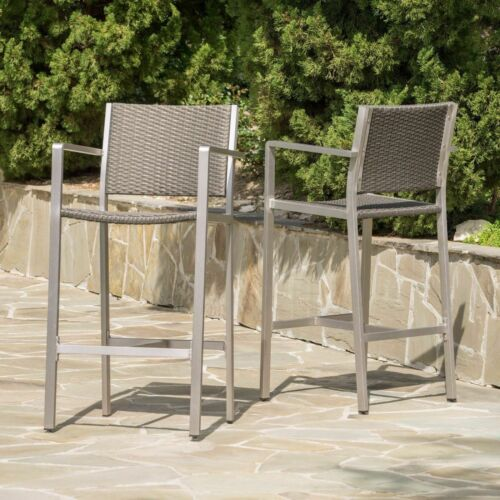 Capral 30-Inch Outdoor Grey Wicker Barstools (Set of 2) Benches, Stools & Bar Stools