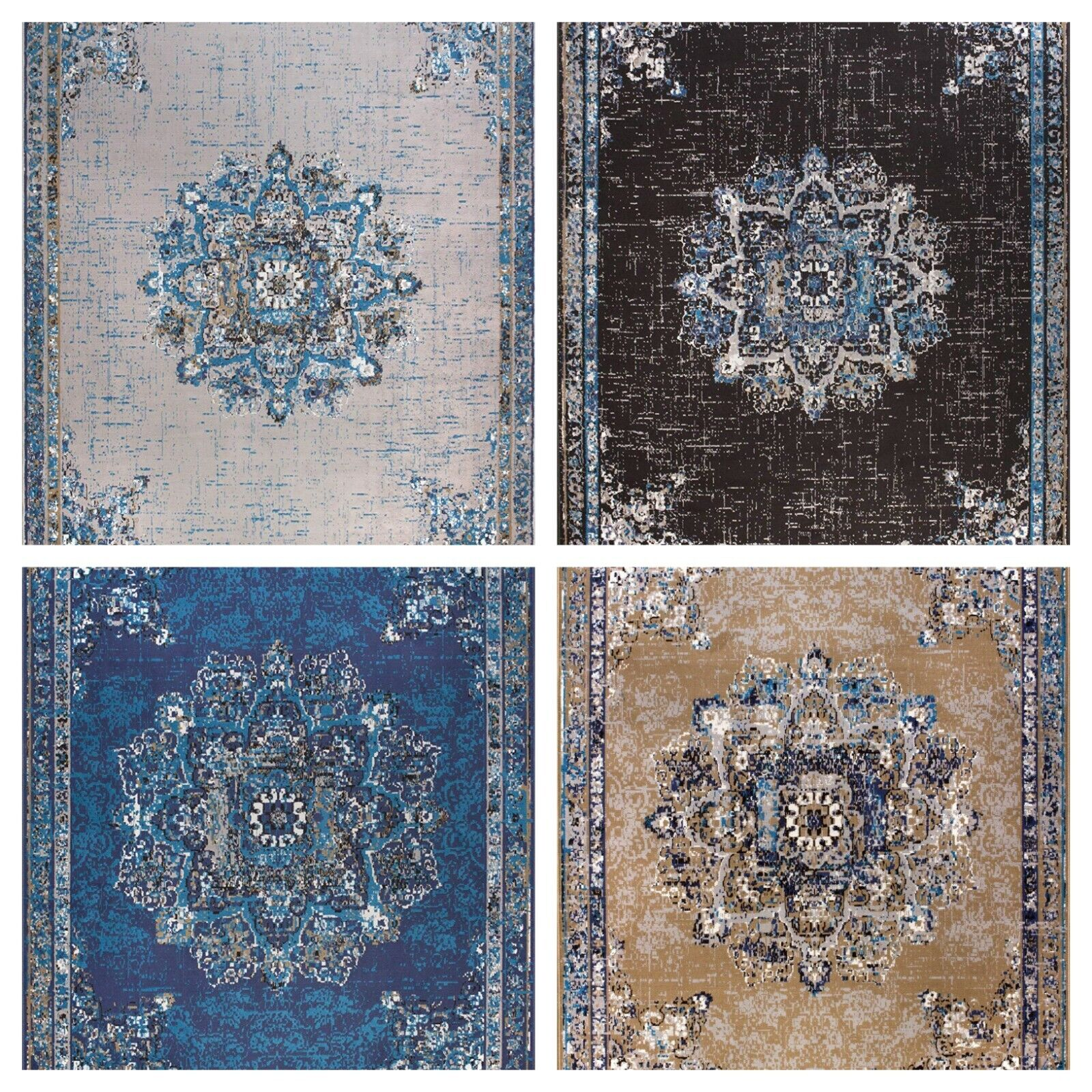 Traditional Oriental Medallion Distressed Area Rug 8x10 Mult