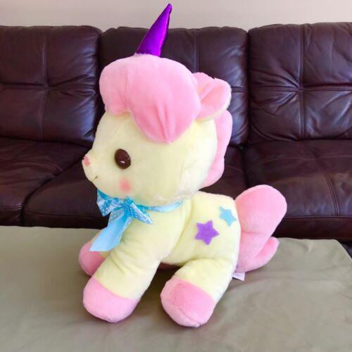 """AMUSE - Unicorn No Cony Yellow Pink """"Piany"""" Plush Toy 18"""