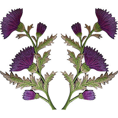 Pair of Purple Thistle Flower Patches Iron Sew On Shirt Bag Flowers Patch Badge Purple Thistle