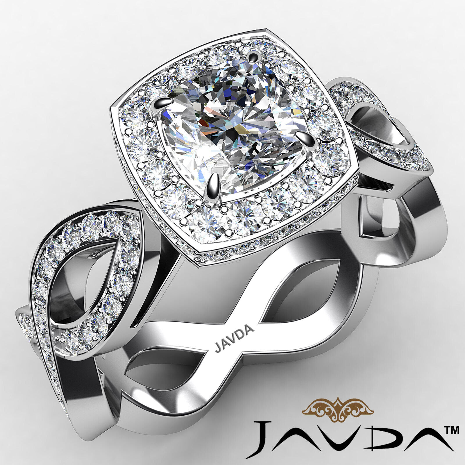 Halo Cushion Diamond Engagement Ring GIA Certified I Color & VVS1 clarity 2.2ctw