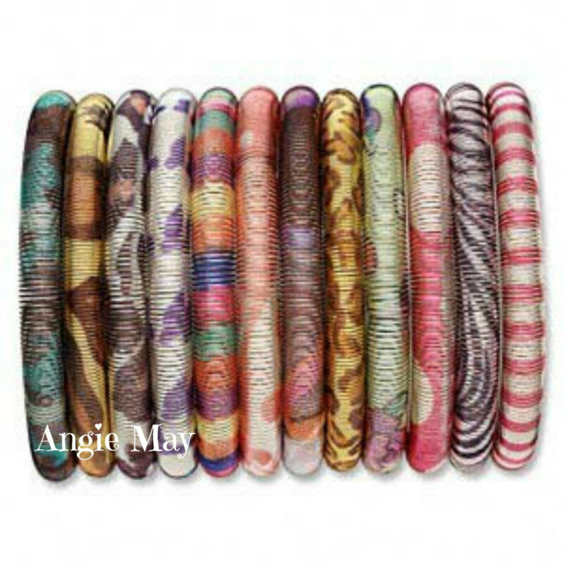 Big Wholesale Lot of 50 Enamel Stretch Coil Bracelets