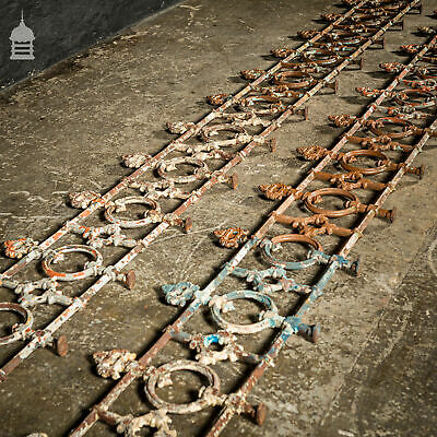 8 Metre Run of 19 th C Decorative Cast Iron Semi High Wall Railings