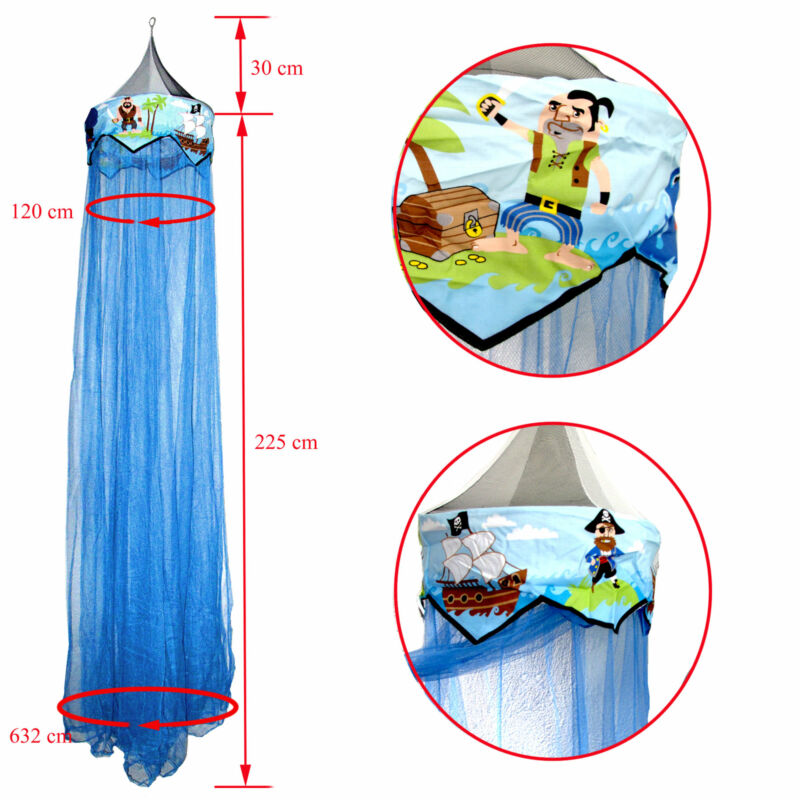 Kids Boy Baby Nursery Blue Pirate Bed Canopy Mosquito Netting Fits Cot or Single
