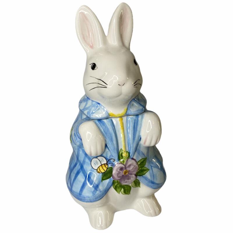 Vtg 2000 Laurie Gates Bunny Rabbit Cookie Jar Floral Jacket Bee Easter Spring