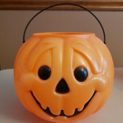 Orange Jack O Lantern Trick Or Treat Basket Halloween Candy Bucket Pale (Clean)!