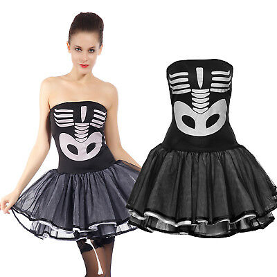 Damen Fancy Dress (Damen Halloween Horror Skelett Kostüm sexy Gespenstisch Schädelkleid Fancy Dress)