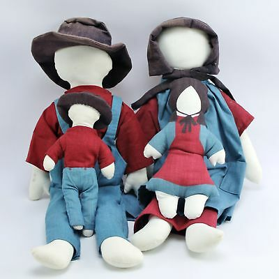 Handmade Faceless Amish Family Plush Cloth Doll Set Mother Father Daughter Son for sale  Shipping to Canada