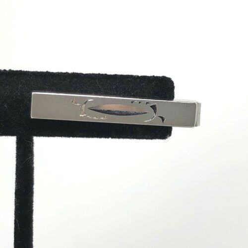 Vintage Anson Patent Pending Silver Tone Etched Tie Bar Clasp Clip Signed