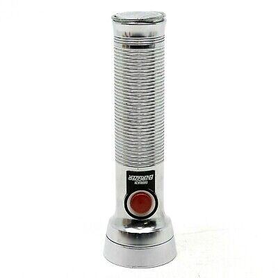 Vintage Silver Metal Eveready Flashlight Torch Push Button Union Carbide USA