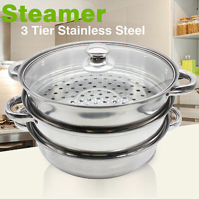3Tier 28cm Stainless Steel Food Steamer Set Induction Hob Cookware Steam Pot Pan