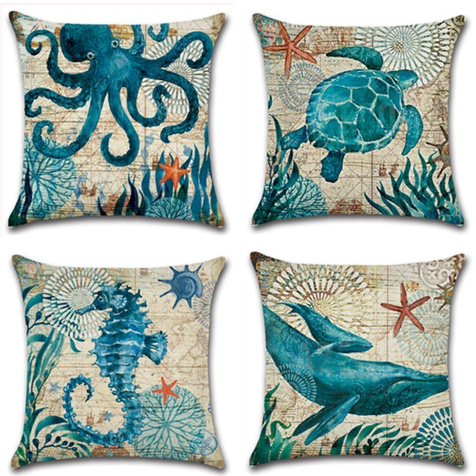Details About Beach Theme Cushion Covers Sea Square Decorative Throw Pillow Cover 4 Pcs