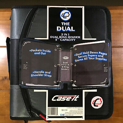 New Case It The Dual 2-in-1 Zipper D-ring Binder 3 Capacity 2 Sets 1.5 Rings