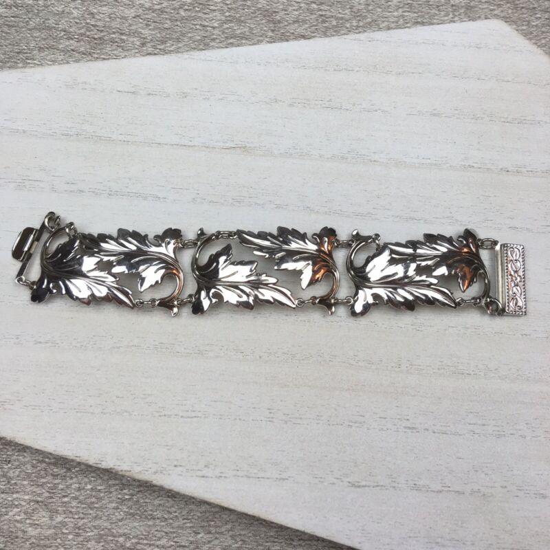 Vintage Silver Tone Leaf Bracelet