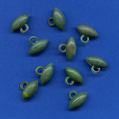 Lot 10 vintage plastic dark green FOOTBALL gumball charms not-cracker-jack