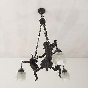 Bronze Cherubs with glass light chandelier - Pair Cottesloe Cottesloe Area Preview