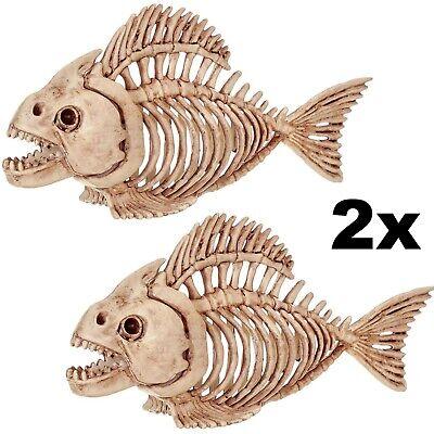 Fish Skeleton Piranha Spooky Halloween Ideas Decor Decoration Prop - Lot of