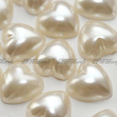 Ivory Flat Card - Ivory Flat Back Pearl Hearts Pearlised Rhinestones Card Making Embellishments