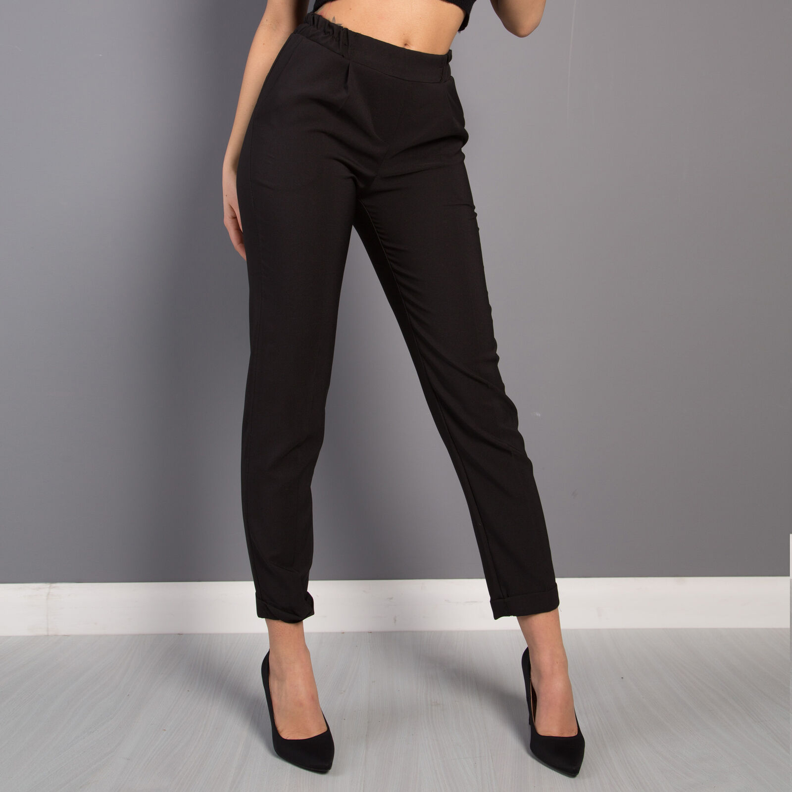 7d66845b3899 Pantalone donna a sigaretta sartoriale slim fit tasche elastico vita alta  9024