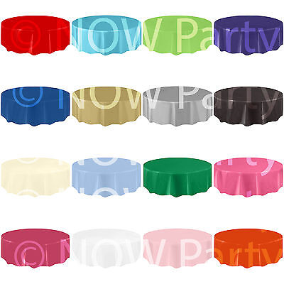 ROUND Plastic TABLECOVERS AMSCAN Table Cloth Cover Catering Events 19 COLOURS - Amscan Tablecloths
