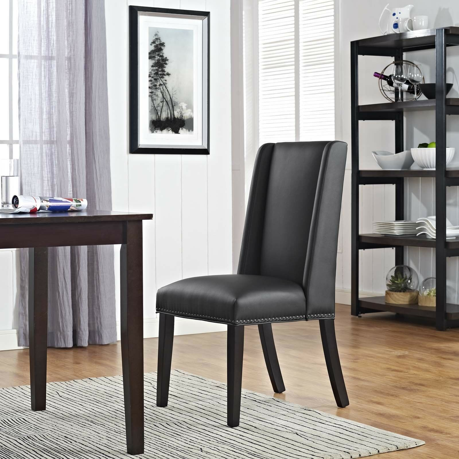 Modern Parsons Nailhead Upholstered Faux Leather Dining ...