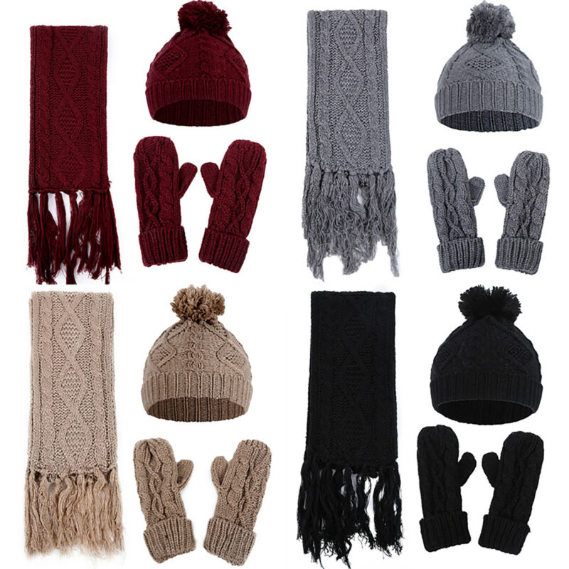 Scarf Mittens Gloves Hats Set Women Warm Knitted Beanie Pomp
