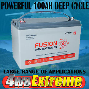 12V 100AH AGM DEEP CYCLE BATTERY CBC12V100 CARAVAN SOLAR BOAT 4X4 POWER SUPPLY