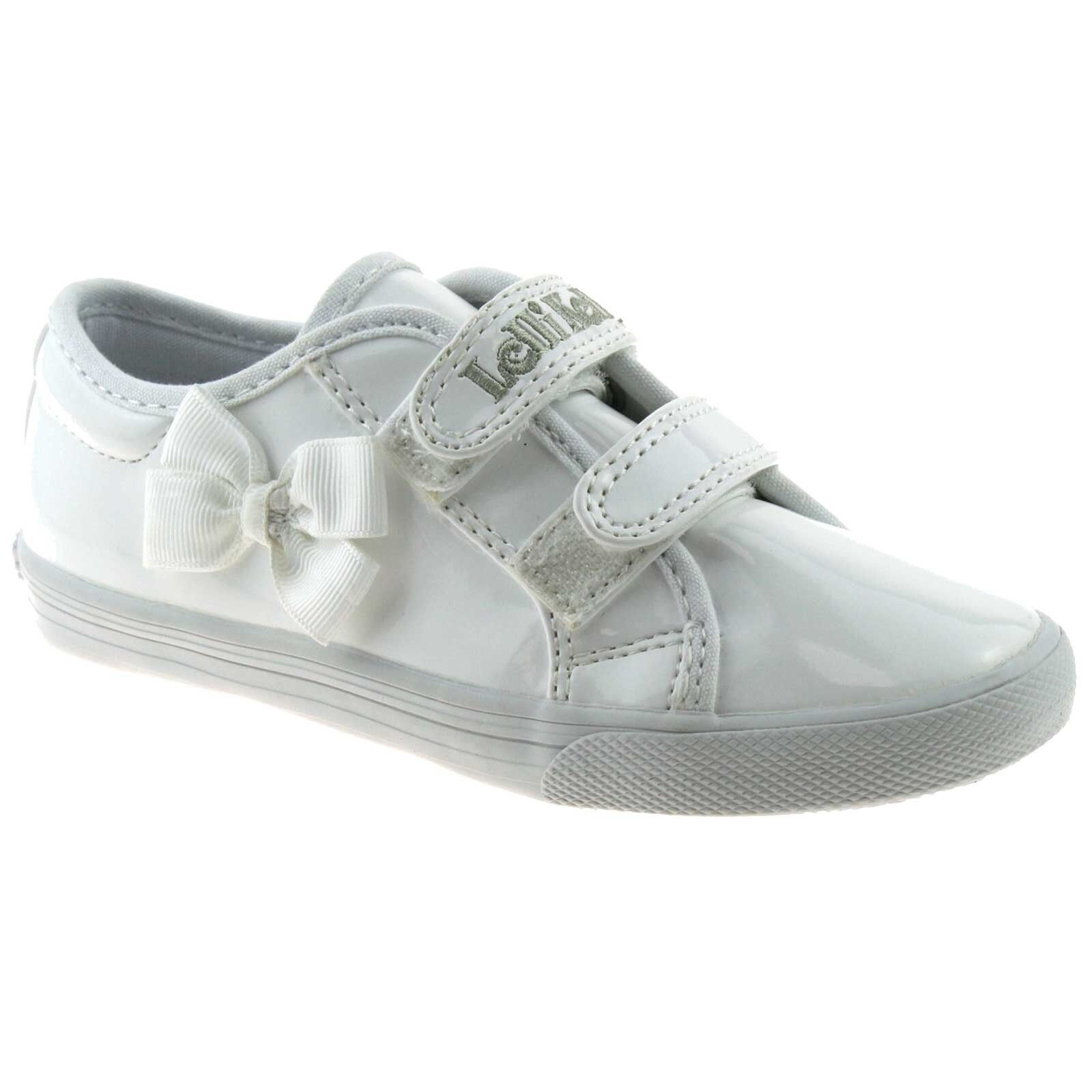 BA01 Lelli Kelly LK8199 White Lily Canvas School Pumps