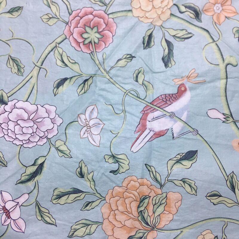 Schumacher Exclusive Screen Print Fabric Salzburg 7 Yards Blue Floral Birds