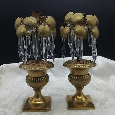 2 French Italian Style Palm Leaf Prisms Candle Holders Urns Hollywood Regency