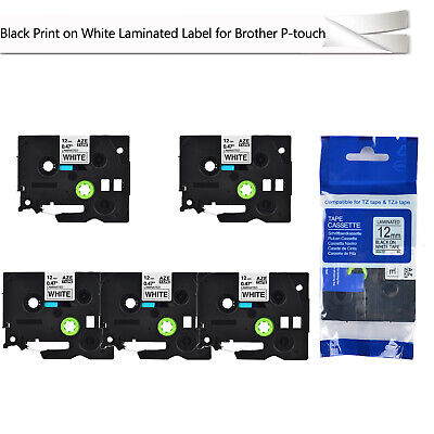 5 Pk Black On White Tz 231 Tze 231 Label Tape Compatible For Brother Pt1090 1200