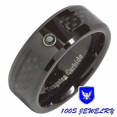8MM Tungsten Ring Black Diamond Carbon Fiber Inlay Mens Wedding Band Size 8-15