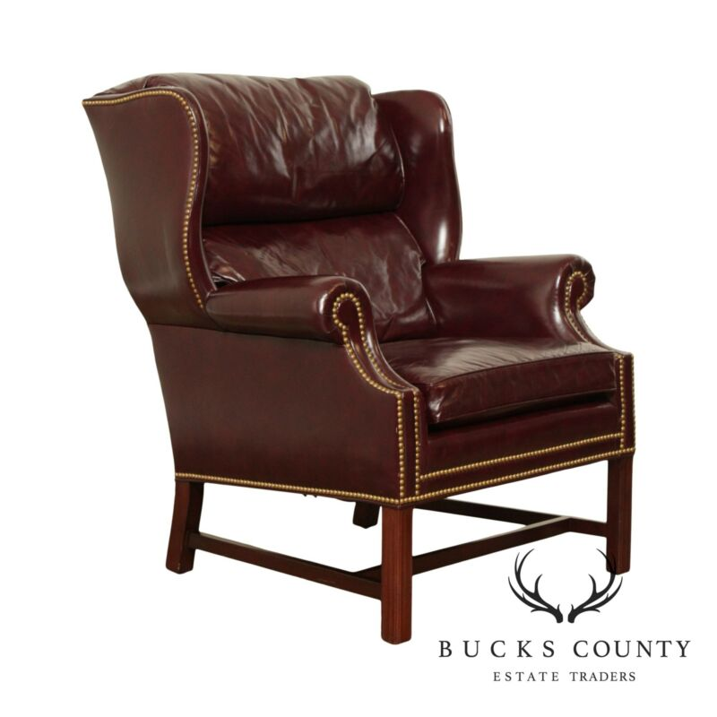Hancock & Moore Chippendale Style Oxblood Leather Wing Chair